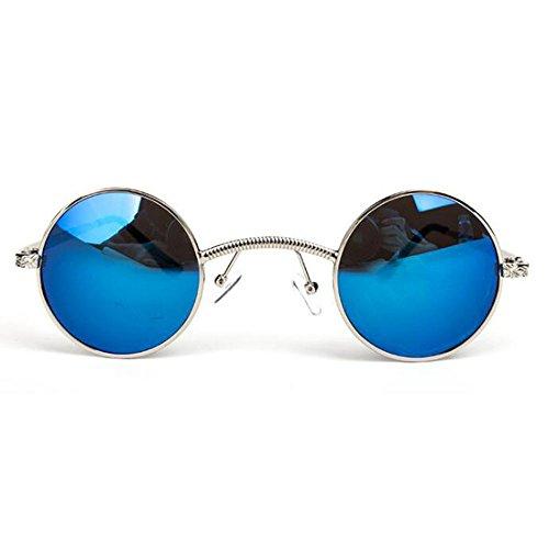 no Retro marco sol Verde puente polarizado pequeña Plata personalidad de redondo hippy caja Reflectante de gafas metal Steampunk wr7HrE