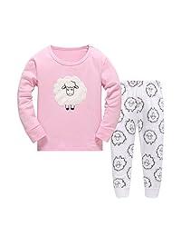 Girls Pajamas Cartoon Sheep Children Pjs Kids Rib Long Sleeves Cotton Clothes Set