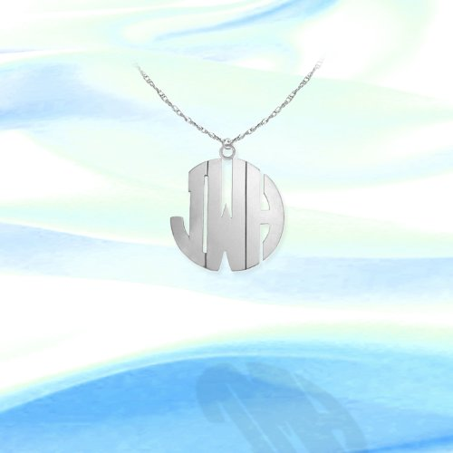 Monogram Necklace 1/2 inch Sterling Silver Handcrafted Cutout Personalized Initial Necklace - Made in ()