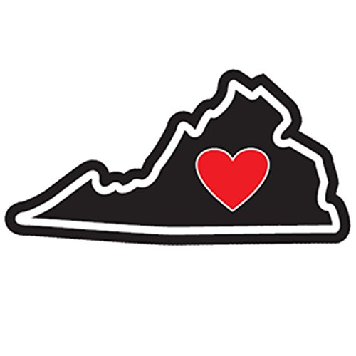 Heart in Virginia Sticker VA Vinyl Decal Label Stickers, Die-Cut Shape for Water Bottle Laptop Luggage Bike Laptop Car Bumper Helmet Waterproof Show Love Pride Local VA is for Lovers UVA (Va Flags Richmond Decorative)