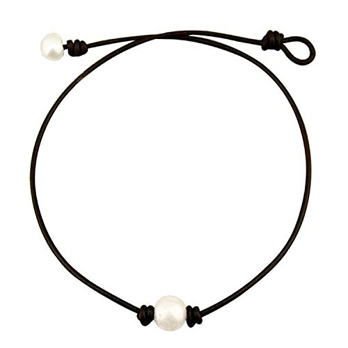 Pearl Leather Choker for Women Single Freshwater Pearl Black Necklace Handmade by Richarde 16