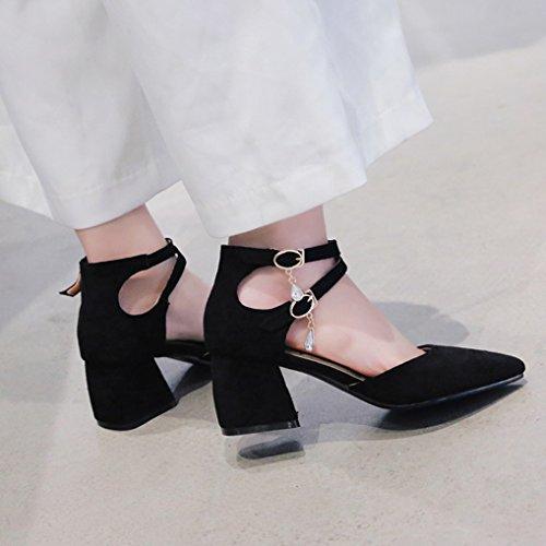 Haut 32 Escarpins Lanière Talon Croisé Suède Classique Femme OALEEN Noir Bloc Pointu 46 Chaussures Sandales Bout Rpdq7nX1xX