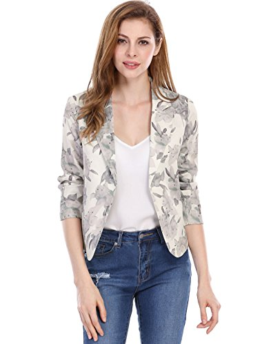 Allegra K Women's Open Front Crop Floral Print Blazer Jacket Beige XL (US 18)