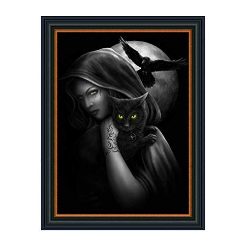 Cat Diamond Painting for Adults Wizard/Witch and Black Cat, Full Drill Diamond Embroidery Paintings for Home Wall Decor(15