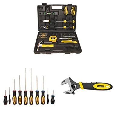 Stanley 94-248 65-Piece Homeowner's Tool Kit w/ 60-100 10-Piece Standard Fluted Screwdriver Set and 90-947 6-Inch MaxSteel Adjustable Wrench