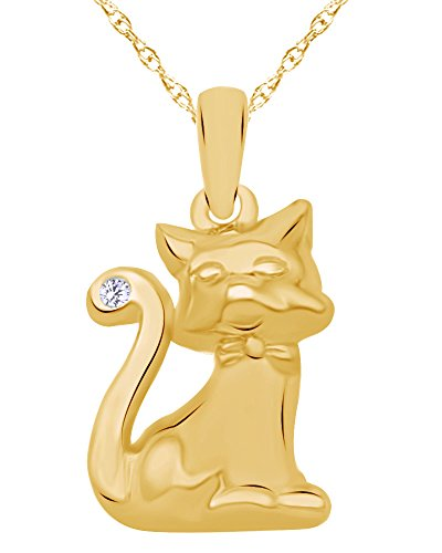 Wishrocks Round Cut White Diamond Accent Two-Tone Cat Pendant in 14K Yellow Gold Over Sterling Silver