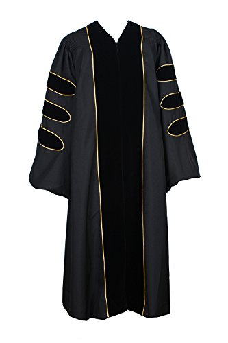 GraduationService Deluxe Doctoral Graduation Gown With Gold Piping Unisex - Doctoral Cap Gown