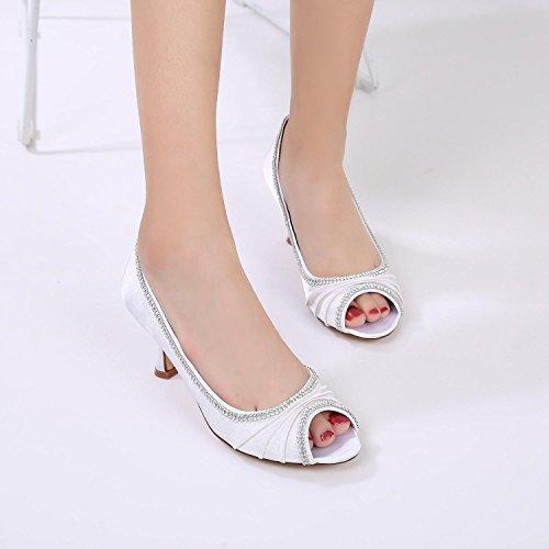 Mujeres yc Satin Costura L Heel Toe Peep Purple Zapatos Boda Encaje Diamantes De Las fdwSnXw8q