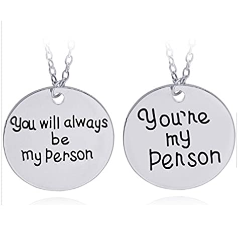 OUTLETISSIMO Juego 2 Collares Grey S Anatomy You re My Person You Will Always Be My Person Serie TV Cristina y Meredith ua20: Amazon.es: Joyería