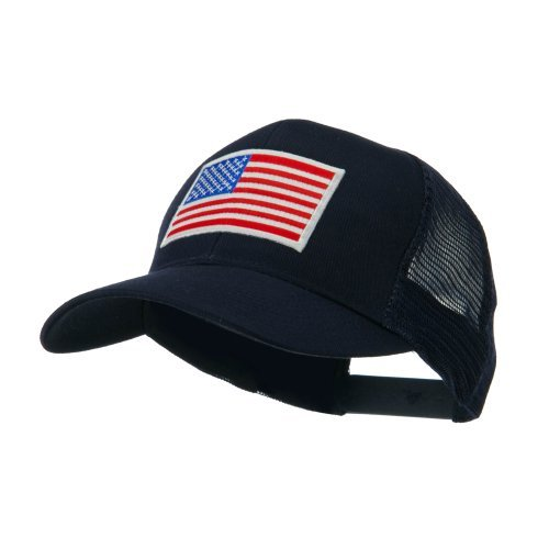 6 Panel Mesh American Flag White Patch Cap - Navy OSFM (Patch Flag American Cool)