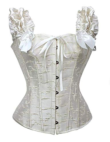 Aflyer Corset for Women's Newest Lace Sleeves Steampunk Gothic Tapestry Lace up Boned Corset Overbust Cincher Bustier White 1 Natural Waist: 32