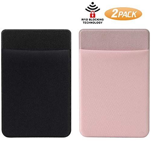 SHANSHUI Phone Pocket, 2 Pack RFID Blocking Stretchy Lycra Credit Card Sleeves Stick on Wallet Card Holder for Back of Phone Case Compatible with Most Smartphones,iPad and Mirror (Black Pink)
