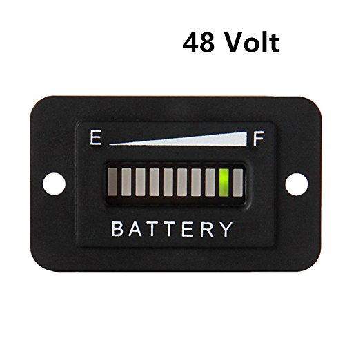 AIMILAR LED Battery Indicator Meter - Battery Charge Discharge Tester Gauge for Lead-Acid Battery Motorcycle Golf Cart Car Jet Ski (48V)