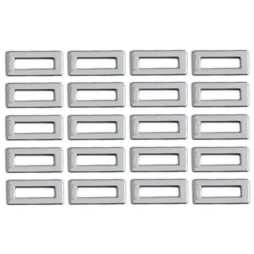(ZaZaTool 20 Pcs Chrome Switch Dash Light Indicator Covers 1-1/16 x 1/2 for Peterbilt Trucks )
