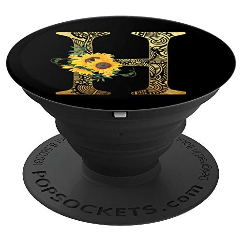 Gold Mandala Letter H Monogram H Sunflowers Gift For Her - PopSockets Grip and Stand for Phones and Tablets