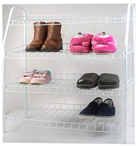 ALL FOR YOU 4 Tier Shoe Rack Show Organizers Space Saving Shoe Tower Storage Cabinet - Composite Utility Shoe Racks (White)