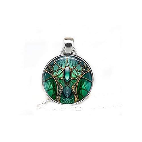 GlassTile Necklace Abstract Art Glass Tile Jewelry Abstract Jewelry Blue Necklace Blue Jewelry