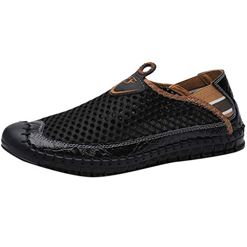 SUNyongsh New Men's Shoes Mesh Shoes Leisure Sports Shoes are Breathable in Summer Shoe Black