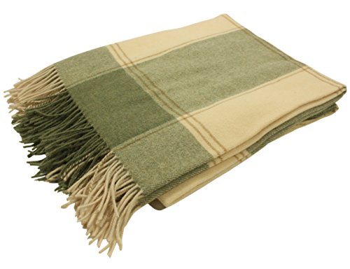 Biddy Murphy Irish Throw Blanket Green & Cream Plaid 100% Lambswool 54 Inches Wide by 71 Inches Long Fringed Soft Warm Housewarming Made in Ireland