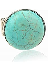 Multi Shape Adjustable Vintage Tibet Silver Plated Nature Turquoise Finger Cocktail Ring