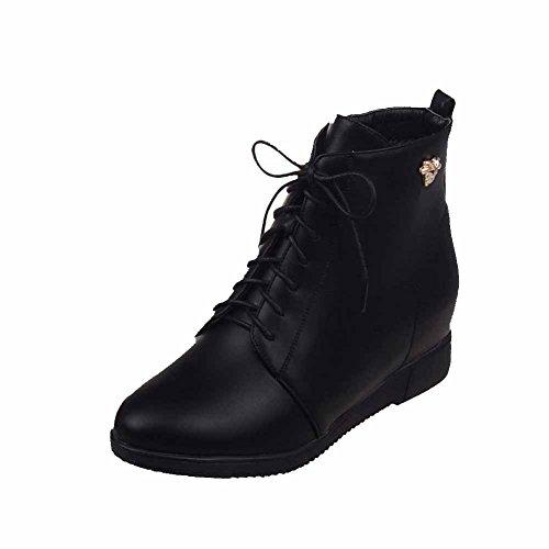 AgooLar Damen Rein PU Hoher Absatz Reißverschluss Rund Zehe Stiefel mit Metall Nägel, Rot, 39