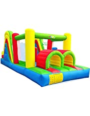 YARD Giant Inflatable Obstacle Course with Large Climbing Wall Slide Super Combo Bounce House 6 in 1 Blower 21.3 x 9.2 x 7.9 feet Kid Bouncy Castles