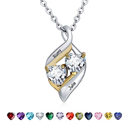 Lam Hub Fong Personalized Necklaces for Women Sterling Silver with 2 Heart Simulate Birthstone 2 Names Pendant Couples Matching Relationship Promise Name Necklaces Mothers Christmas Pendant for Mom