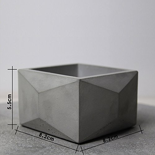 - lieomo Handmade Modern Simplicity Designs Polyhedron Square Geometric Style Concrete Planter