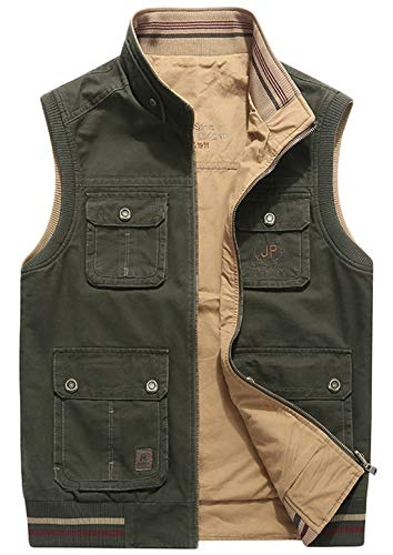 chouyatou Men's Active Band Collar Full Zip Reversible Multi-Pocket Sportswear Work Vest Jacket (XX-Large, Army Green)