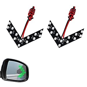 LEADTOPS 2 Pcs 14 SMD LED Arrow Panel For Car Rear View Mirror Indicator Turn Signal Light (Green)