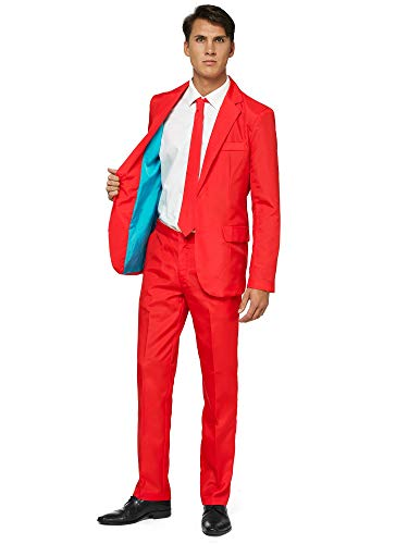 OFFSTREAM Plain Colored Suits for Men- Costumes Include Jacket Pants and Tie, Plain Red, XX-Large -