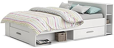 Función cama 140 x 200 cm, color blanco con 3 cajones + Estantería (Cabecero de cama), Cuna, cama juvenil – Tumbona