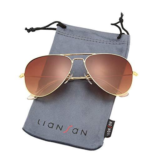 LianSan Aviator Outdoor Reading Sunglasses Gradient Brown Grey Metal Bifocal Sunglasses for Men and Women Readers 8022 Gold Frame Brown Lenses 2.50