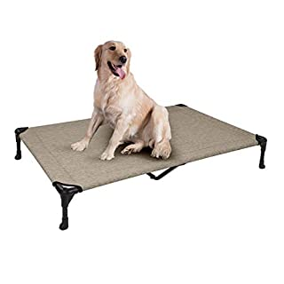Veehoo Cooling Elevated Dog Bed, Portable Raised Pet Cot with Washable & Breathable Mesh, No-Slip Rubber Feet for Indoor & Outdoor Use, X Large, Beige Coffee