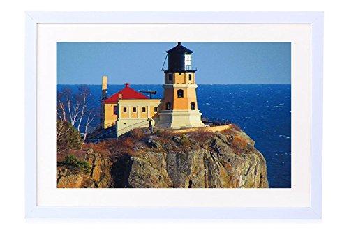 Rock Pictures Split Lighthouse (Split Rock Lighthouse - Art Print White Wood Framed Wall Art Picture 24x16 inches Framed)