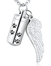 Dog Paw Cylinder with Angel Wing Charm Necklaces Pendant Cremation Jewelry