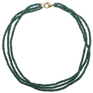 """14k Yellow Gold Emerald Roundel Triple Strand Necklace, 16"""""""
