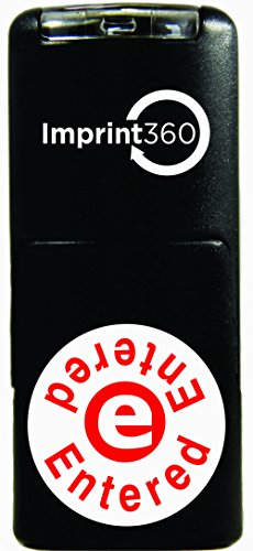 """Imprint 360 AS-IMP2011 Round Stamp Entered Written on Top and Bottom with E In The Middle, Red Ink, Durable, Light Weight Self-Inking Stamp, 5/8"""" Impression Area"""