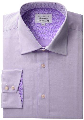 Ted Baker Men's Plaindi Sterling Endurance Shirt, Purple, 16
