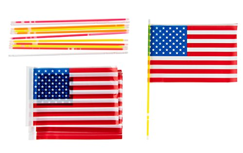 Glow Sticks - 12-Pack American Flags Glow in the Dark Sticks, Patriotic USA Party Supplies for Election Day, Veteran's Day, Halloween Goodie Bag Favors, Trick or Treat Toys, 6 Colors, Handheld Sized