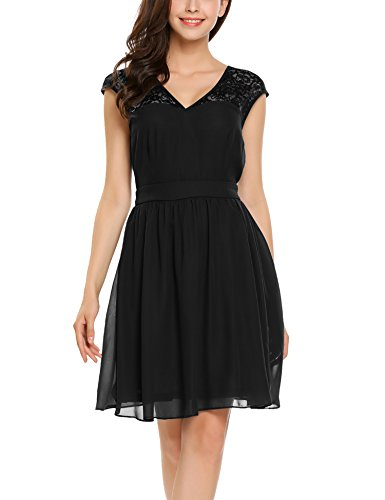 Zeagoo Women's Vintage Skater Dress Fit and Flare Casual Summer Beach Sundress,Black,L
