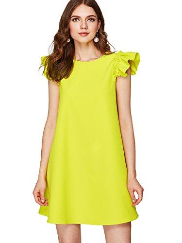 - Romwe Women's Ruffle Trim Sleeve Summer Beach A Line Loose Swing Dress Yellow L