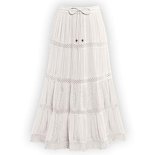 Women's Crinkled Eyelet Lace Tiered Ivory Skirt with Elastic Waistband - Stylish Summer Skirt, Ivory, Large