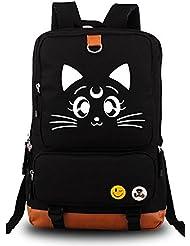 YOYOSHome Anime Sailor Moon Cartoon Luna Canvas Messenger Bag Backpack School Bag