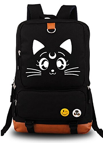 (YOYOSHome Anime Sailor Moon Cartoon Luna Canvas Messenger Bag Backpack School Bag)