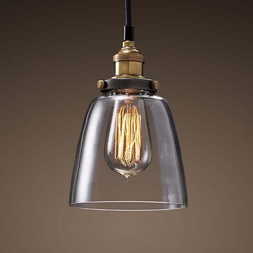 Ohr Lighting Industrial Edison Mini Clear Glass Shade Hanging Pendant Light Fixture E26 Socket, Antique Brass Finish (Bulb (Antique Brass Pendant Lantern)
