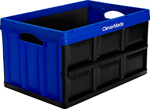 Utility Bin (CleverMade CleverCrates 46 Liter Collapsible Storage Bin/Container: Solid Wall Utility Basket/Tote, Royal Blue)