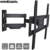 KRIËGER KCR3255 Full Motion articulating TV Wall Mount 32-55 LED LCD plasma, fits up to VESA 400X400, 110 Lbs with a Flush 2.3 Profile!