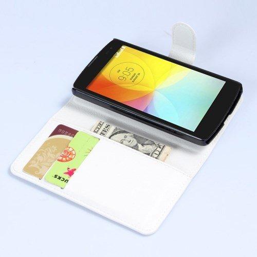 caja del teléfono móvil de la cubierta Caso de Negocio LG L Fino / D295 - SOPORTE DEL LIBRO tirón de la caja de blanco