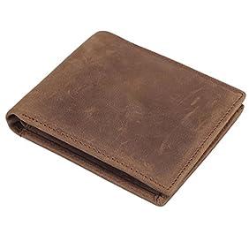 Polare Men's RFID Blocking Vintage Italian Genuine Leather Slim Bifold Wallet Handmade